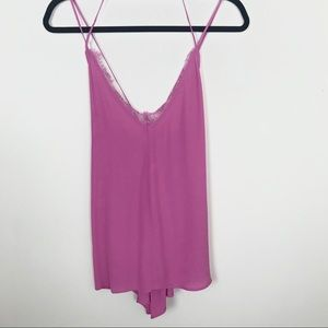 Silence & Noise Lace Trimmed Criss Cross Tank